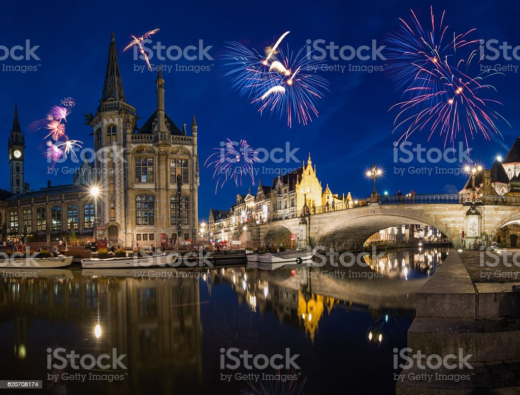 New Year´s Eve in Gent - Belgium stock photo