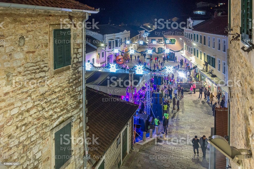 New Year's eve in Herceg Novi, Montenegro stock photo