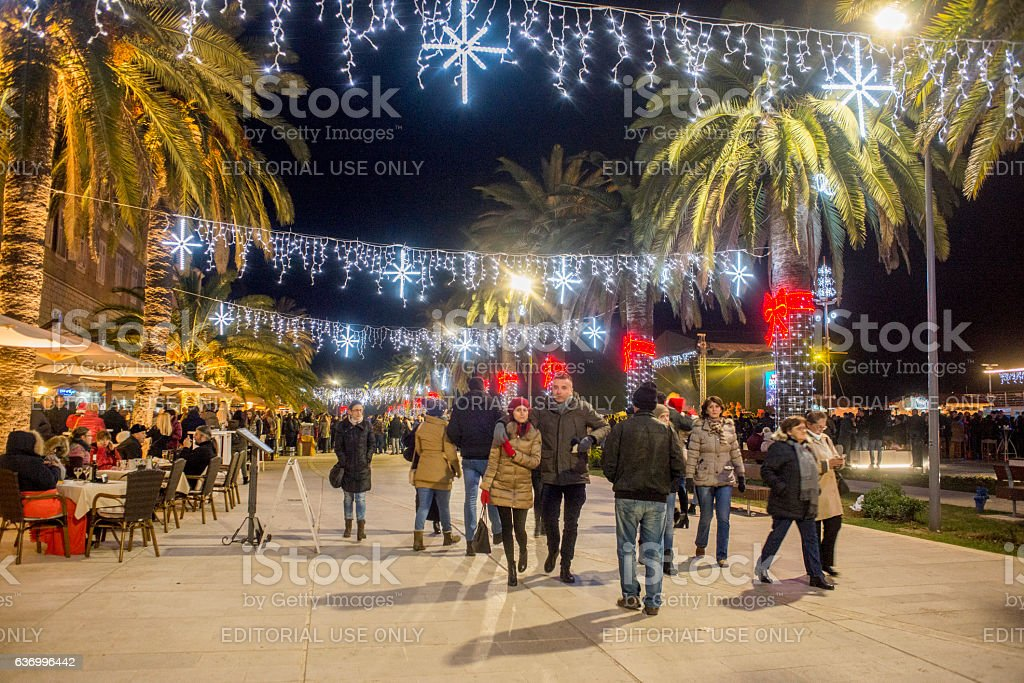 New Year's eve in Tivat, Montenegro stock photo