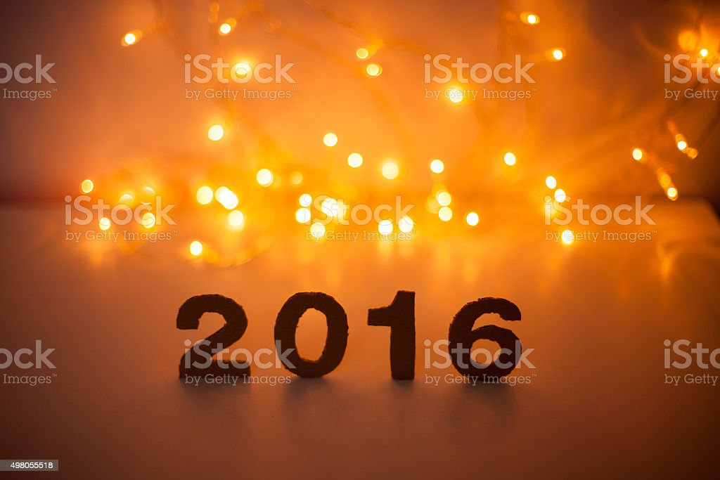New Year's Eve, 2016, lights,  figures made of cardboard stock photo