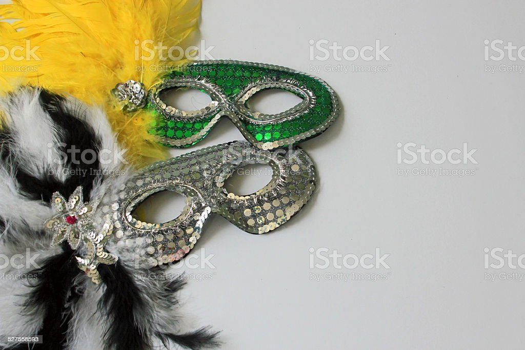 New Year's Eve mixed masks with white copy space stock photo