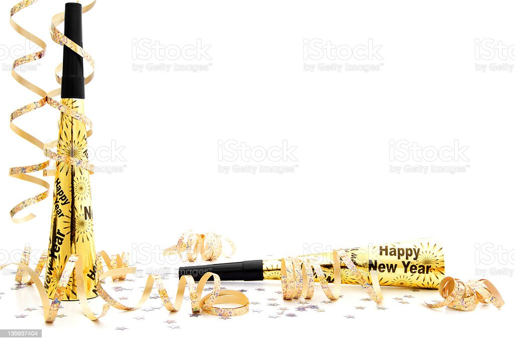 New Years Eve party noisemaker border stock photo