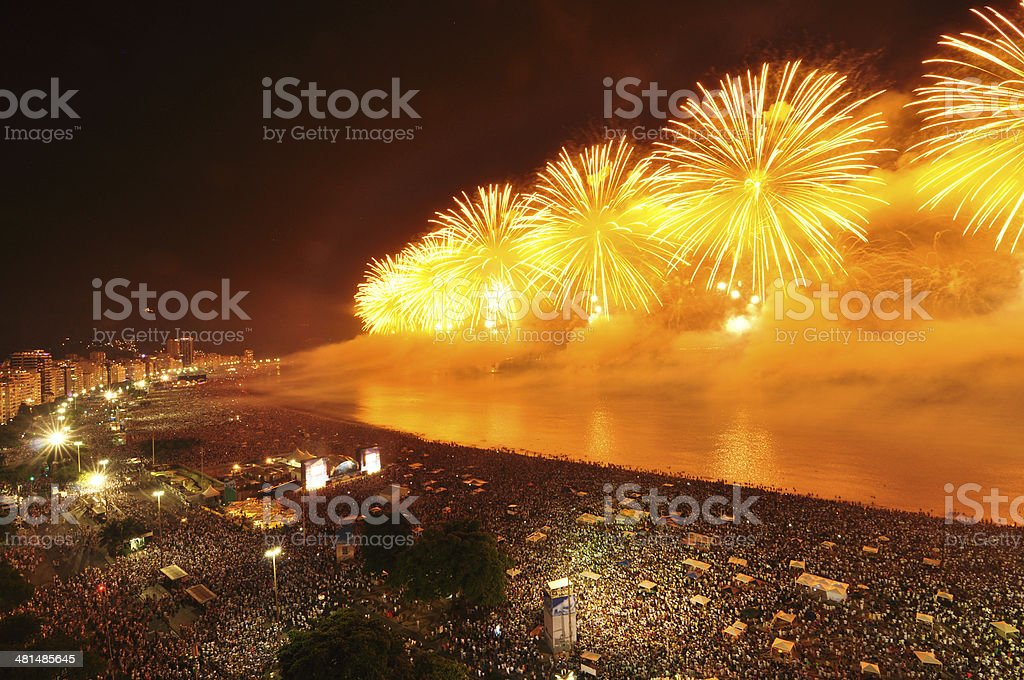 New Year?s Eve Party on Copacabana Beach stock photo