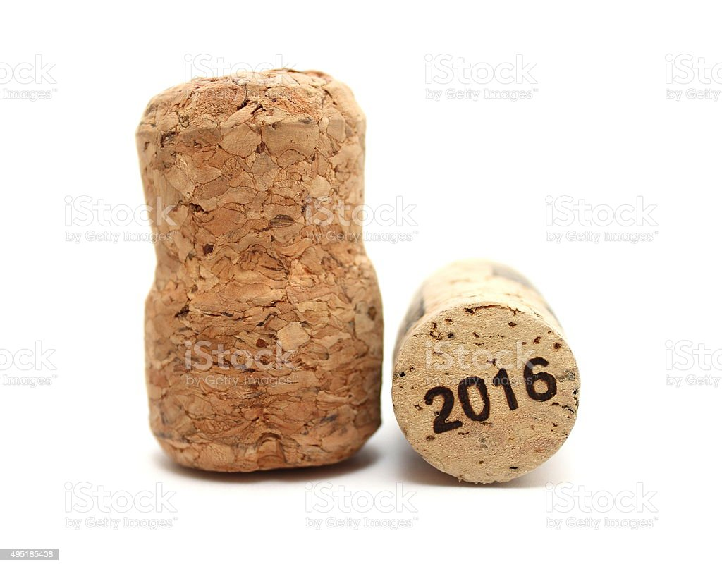 New Year's Eve/Champagne and wine corks new year's 2016 stock photo