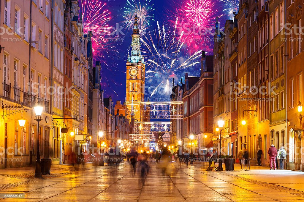 New Years firework display in Gdansk stock photo