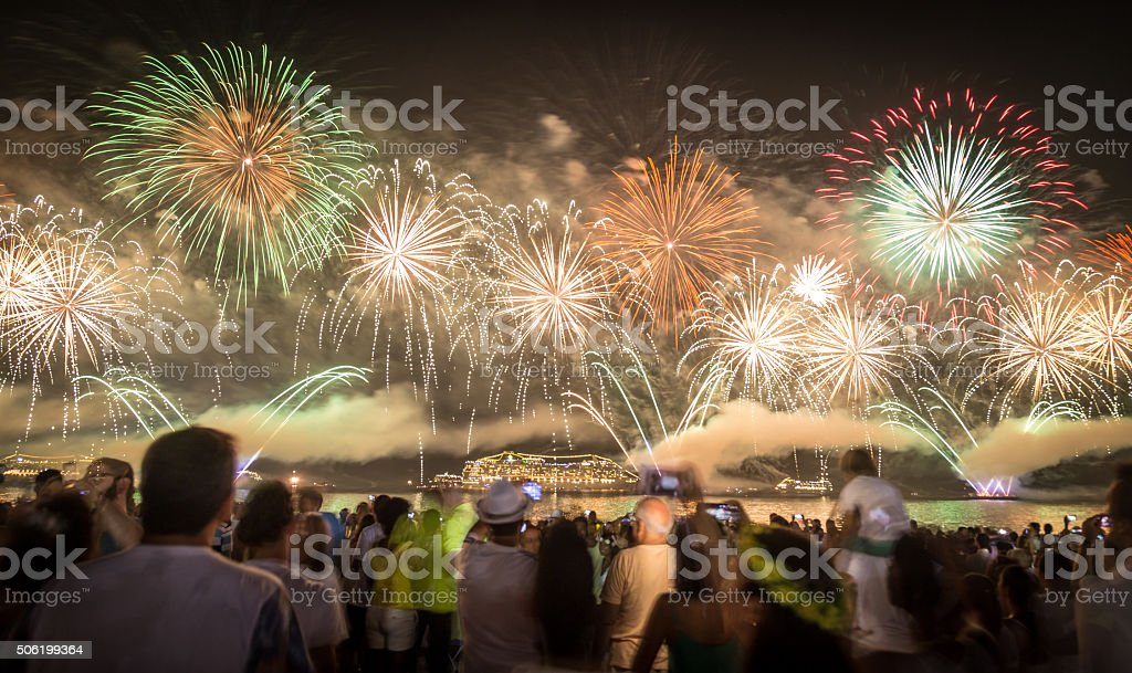 New Year's Fireworks in Copacabana II stock photo