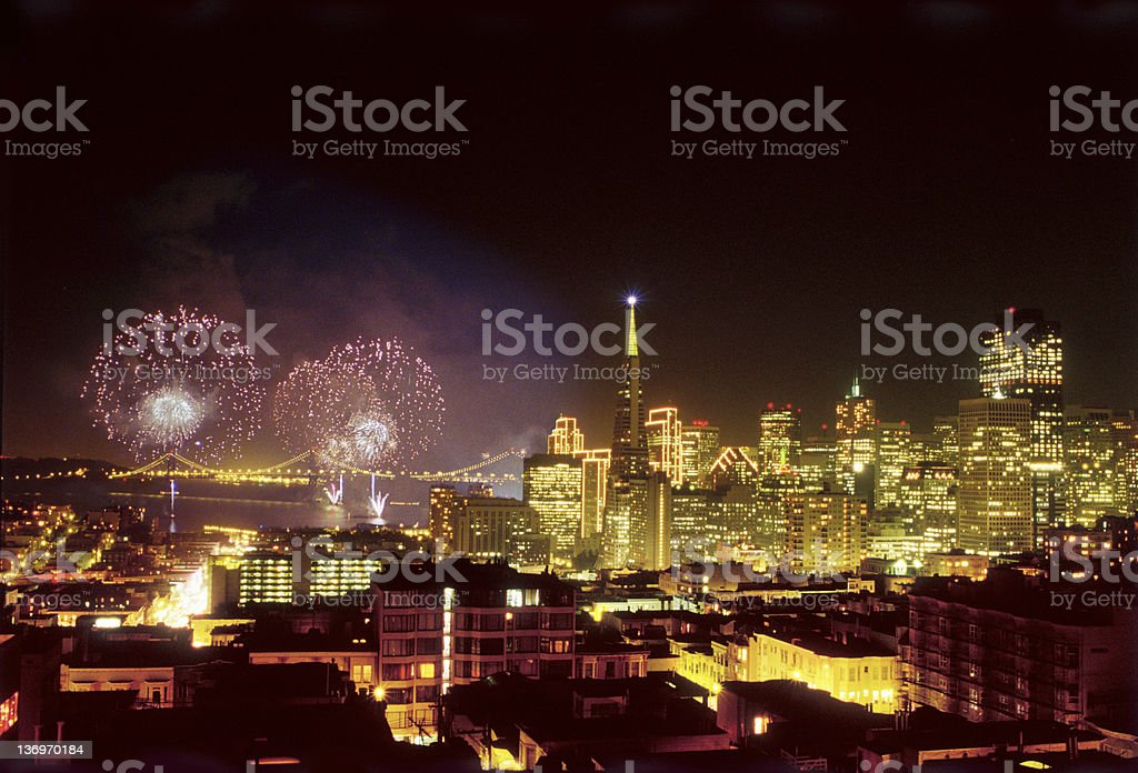 New Years Fireworks in San Francisco 2000 royalty-free stock photo