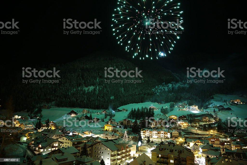 New year's fireworks on the italian alpine village Ortisei stock photo