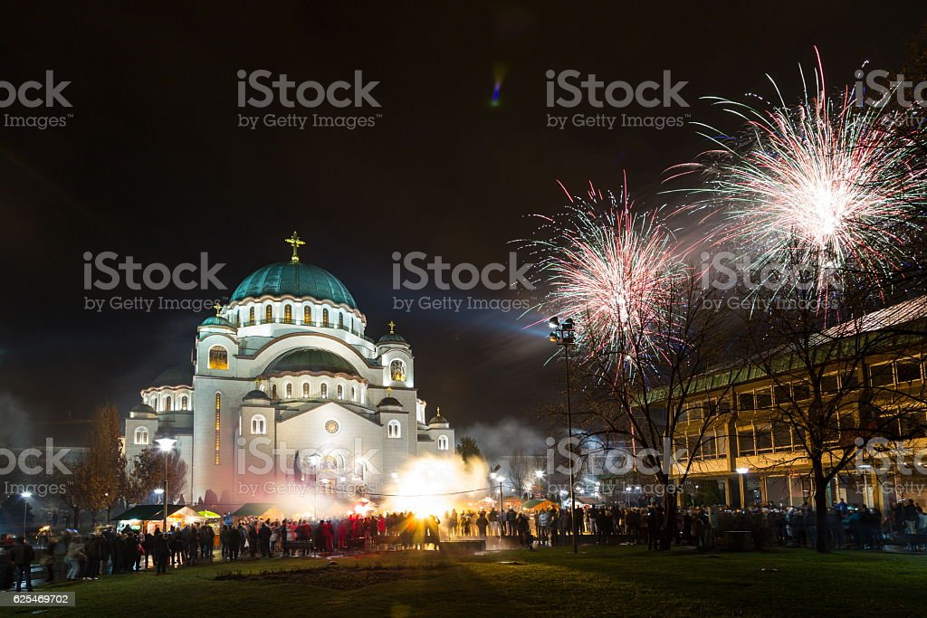 New Year's fireworks stock photo