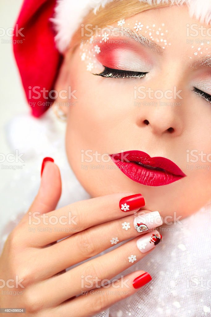 New year's manicure and makeup. stock photo