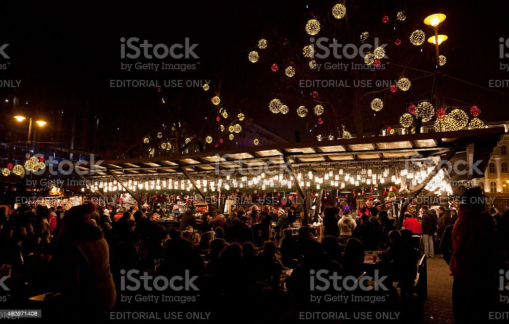 New Year's market in Budapest stock photo