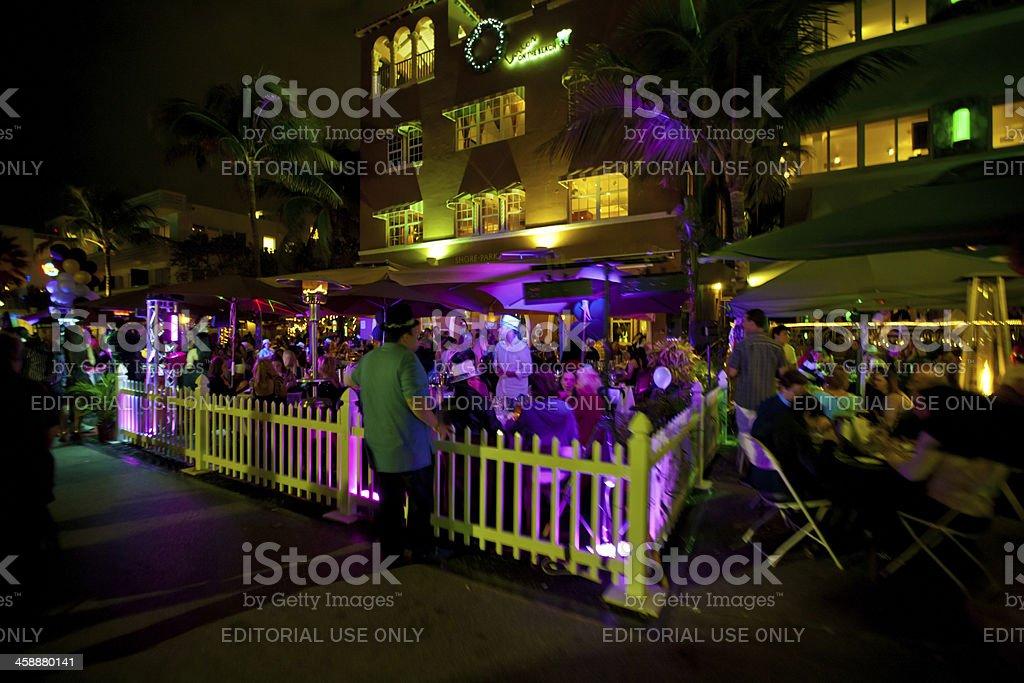 New Year's Night Celebration on Ocean Drive, Miami Beach royalty-free stock photo
