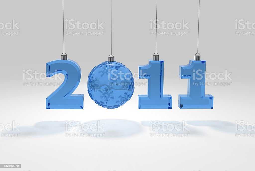 new year's numbers glass decoration stock photo