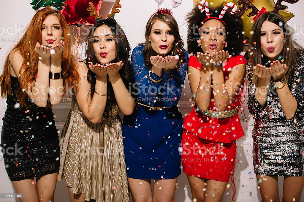 New Year's party with girls. stock photo