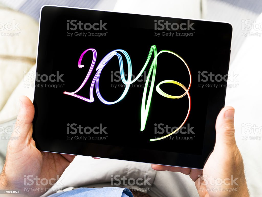 New year's photo on digital tablet display royalty-free stock photo