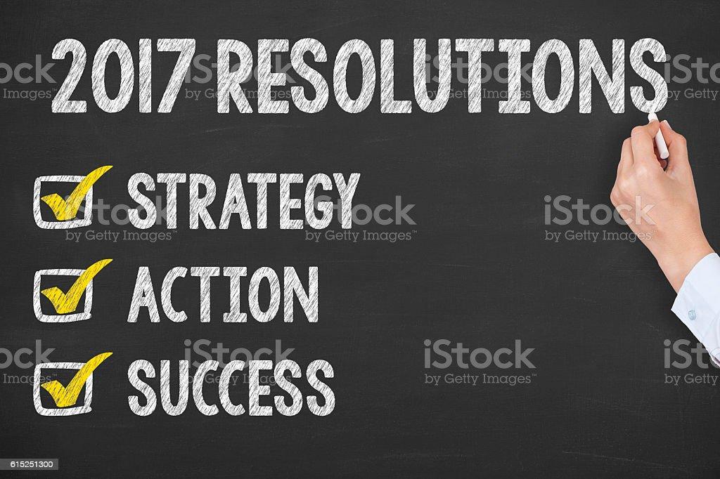 New Year's Resolution on Blackboard stock photo