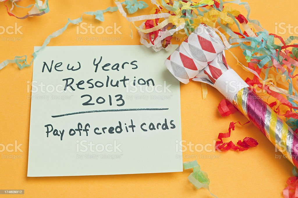 New Years Resolution: Pay Off Credit Cards stock photo