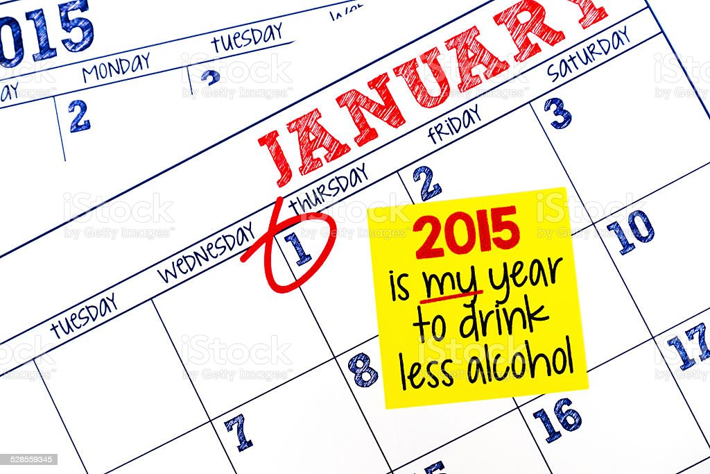 New Year's Resolution to drink less in 2015 stock photo