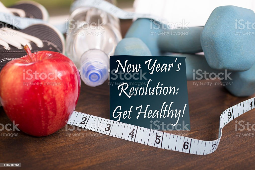 New Year's Resolution to get healthy. stock photo