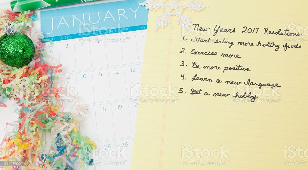 New Years Resolutions 2017 stock photo