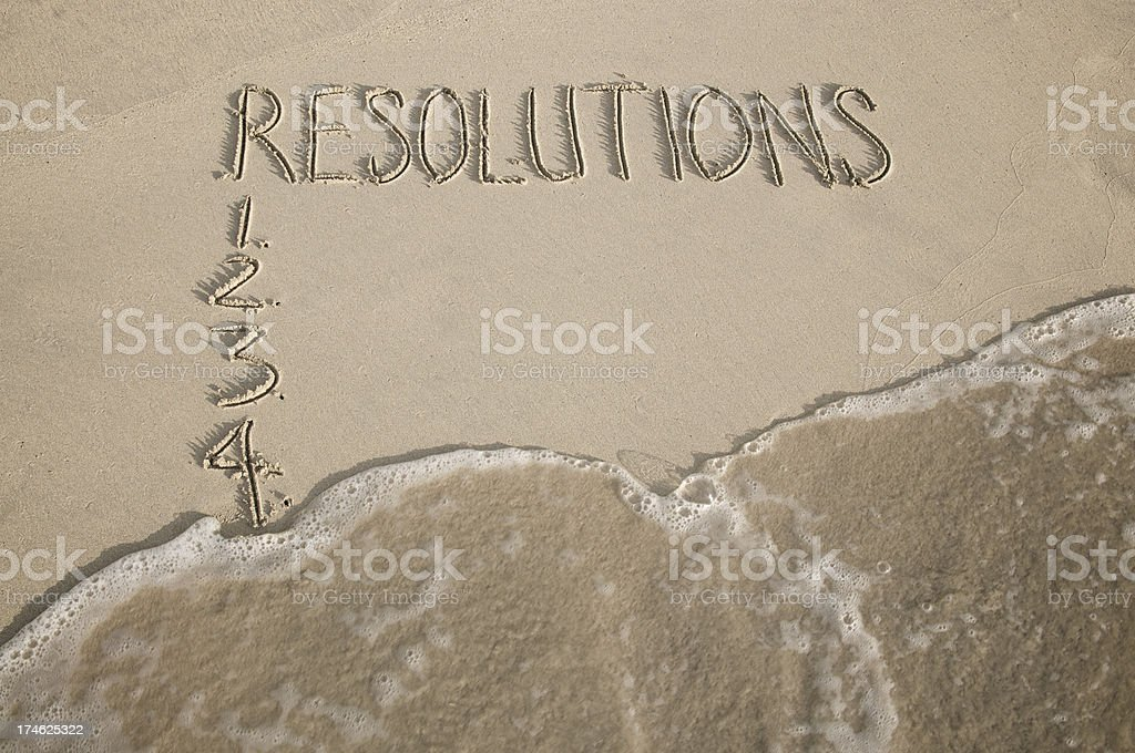 New Years Resolutions List Wiped by Wave Smooth Sand Beach royalty-free stock photo