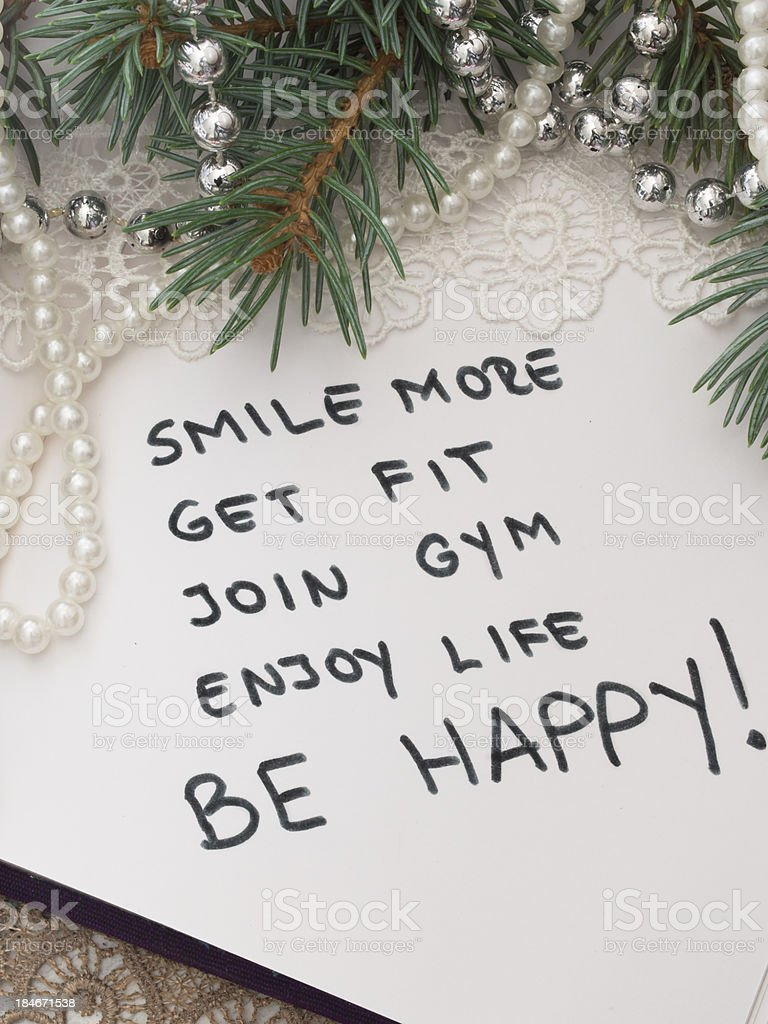 New Year's resolutions with white beads and tree branch royalty-free stock photo