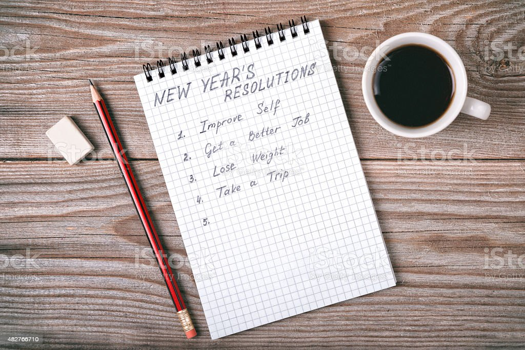 New year's resolutions written on a notepad stock photo