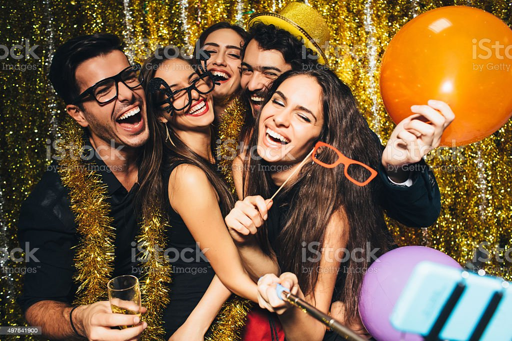 New year's selfie stock photo