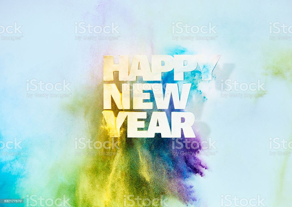 New Years sign on wall stock photo