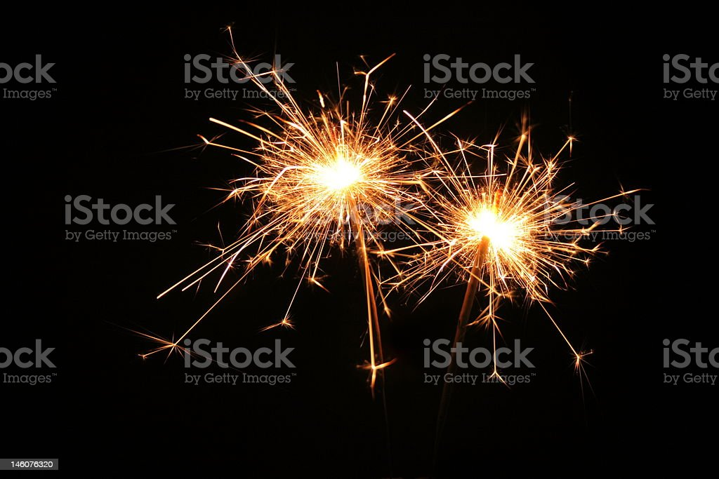 New years sparklers stock photo