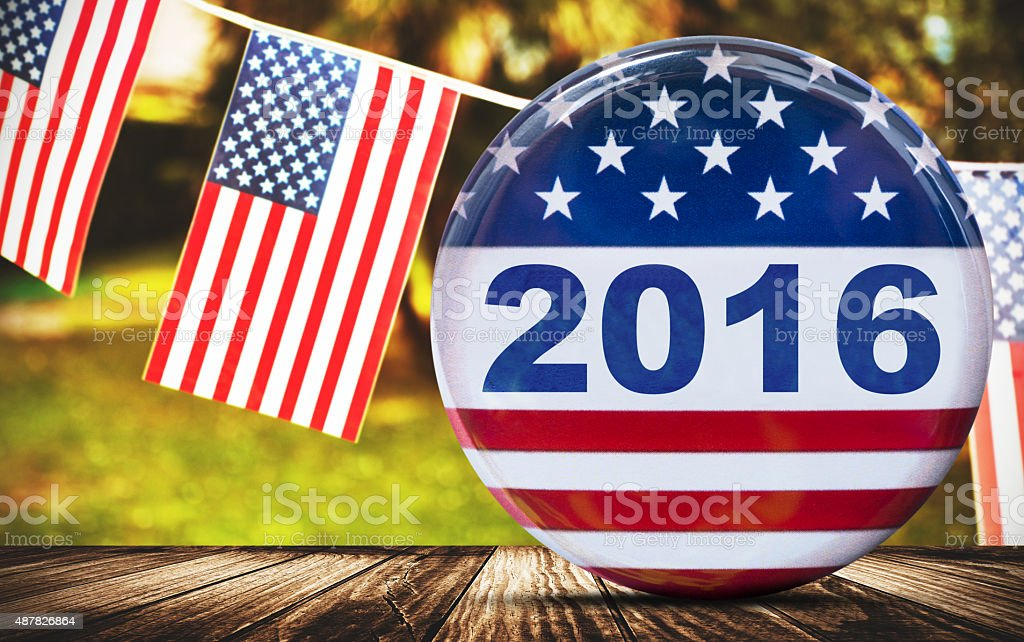2016 new years usa badge button stock photo
