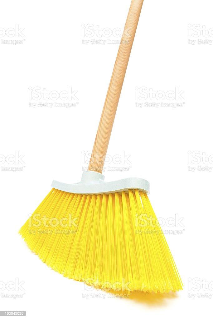 new yellow brush the floor stock photo