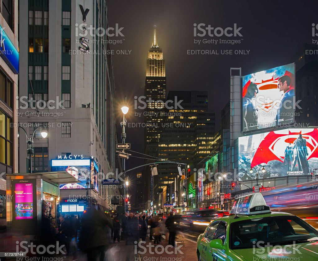 New York 34th and 7th Intersection at Evening Rush Hour stock photo