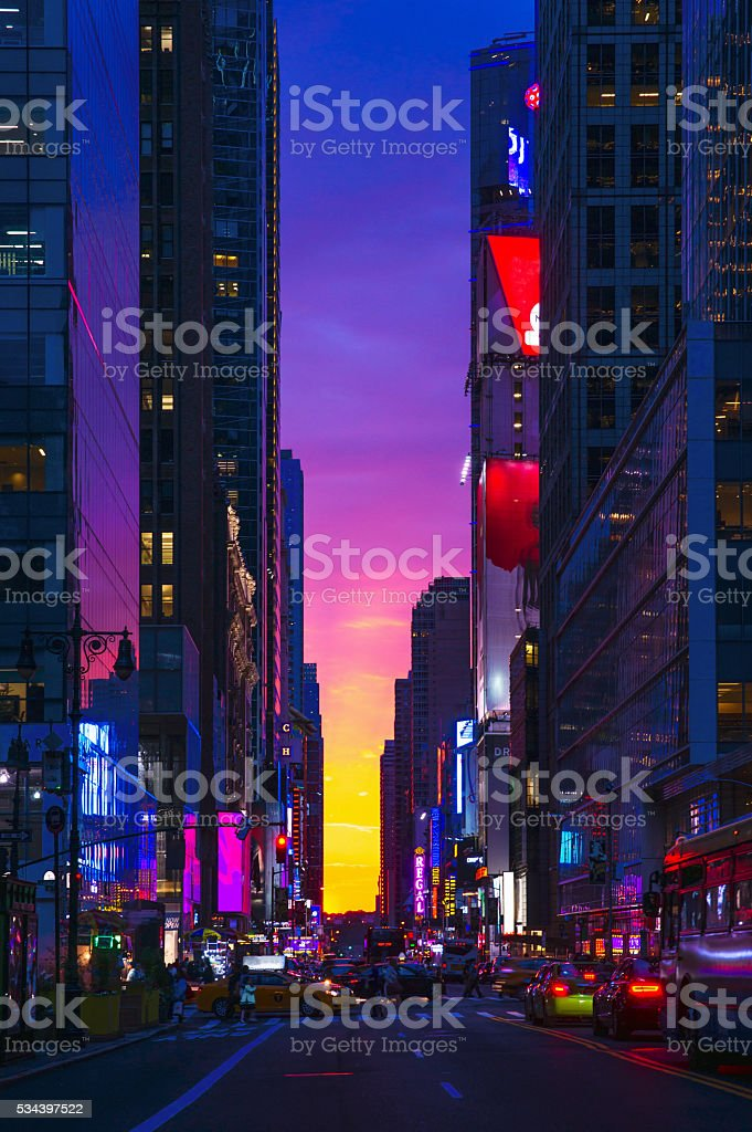 New York 42nd Street in Colorful Rainbow Toned Sunset Background stock photo