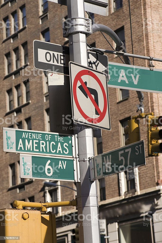 New York:  6th Avenue at 57th Street royalty-free stock photo