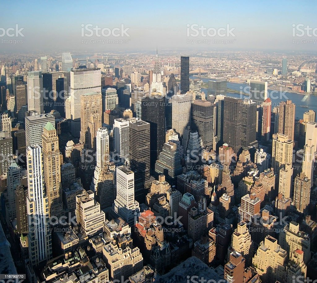 New York aerial view in sunny ambiance royalty-free stock photo