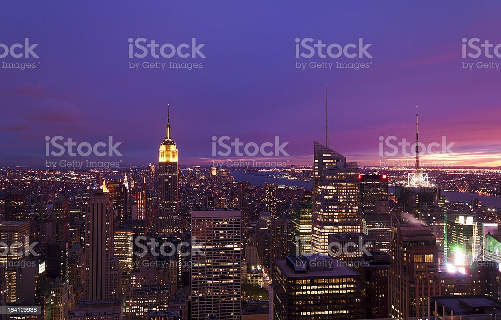 New York - Aerial View of Manhattan at Dusk royalty-free stock photo
