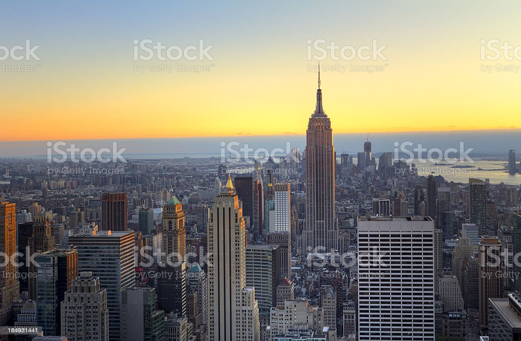 New York - Aerial View of Manhattan at Sunset royalty-free stock photo
