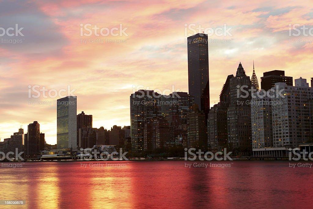New York at sunset stock photo