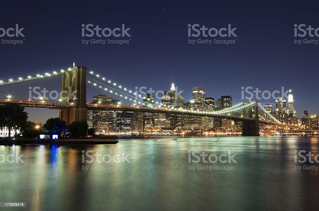 New York - Brooklyn Bridge and Lower Manhattan at Night royalty-free stock photo