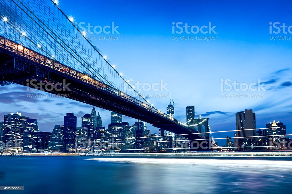 New York Brooklyn Bridge at Night stock photo