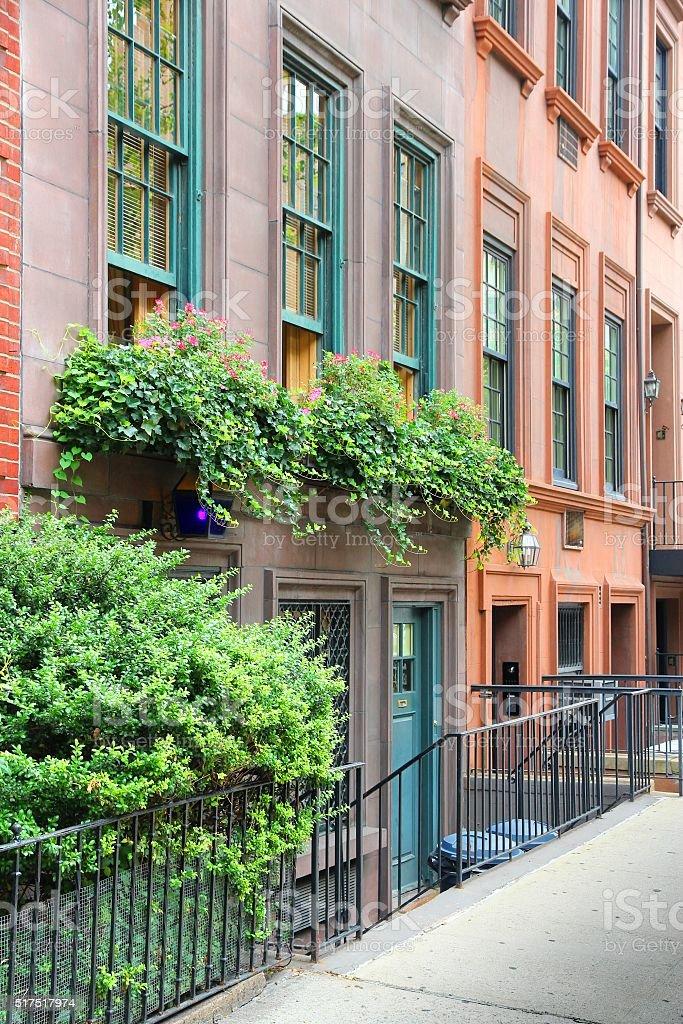 New York brownstone stock photo