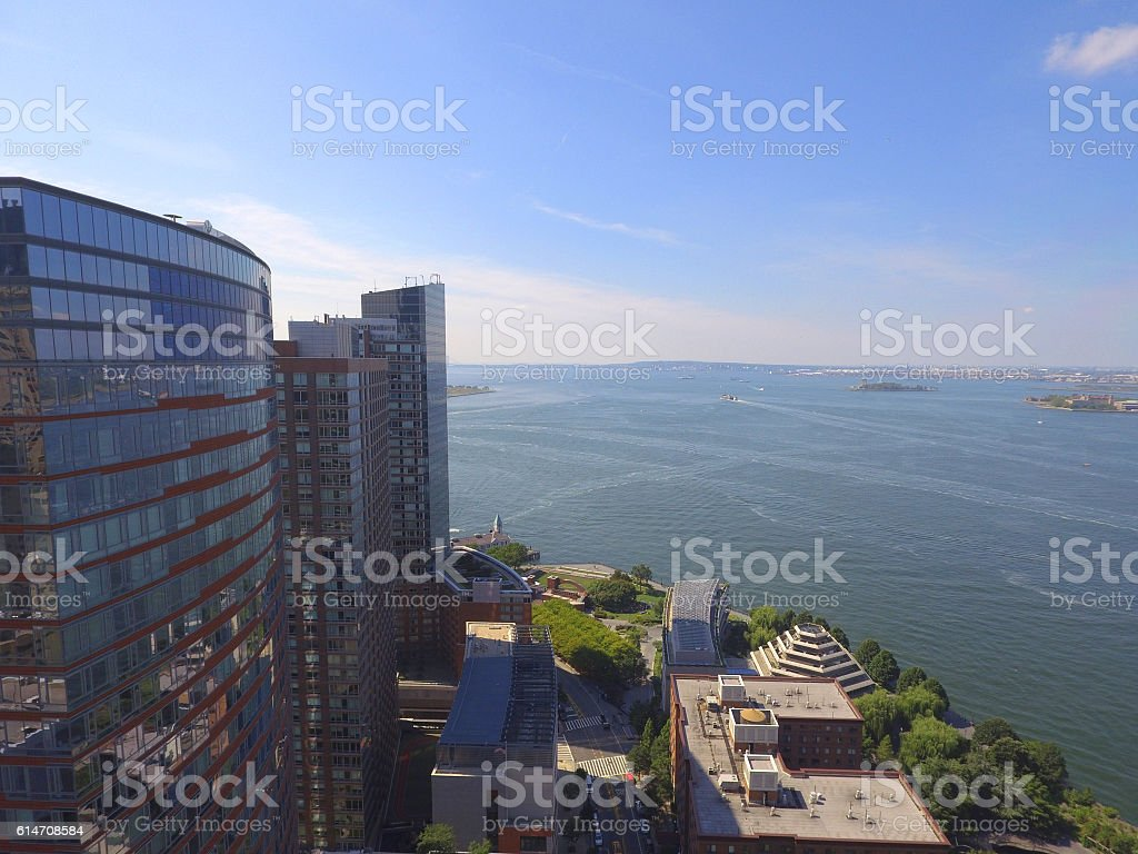 New York buildings and Hudson River stock photo