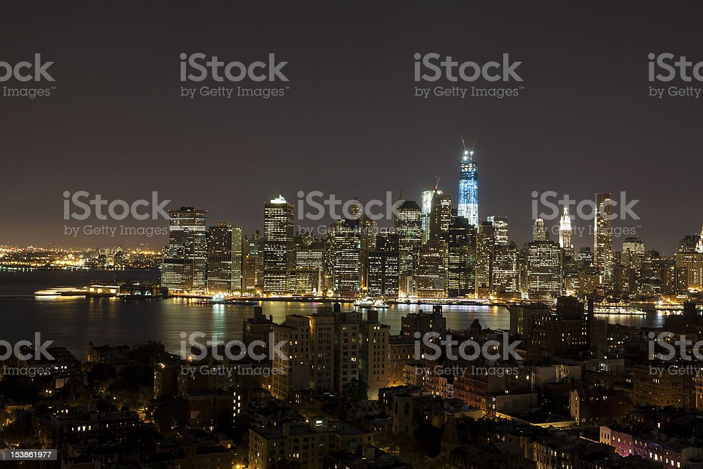 New York by night - WTC in blue stock photo