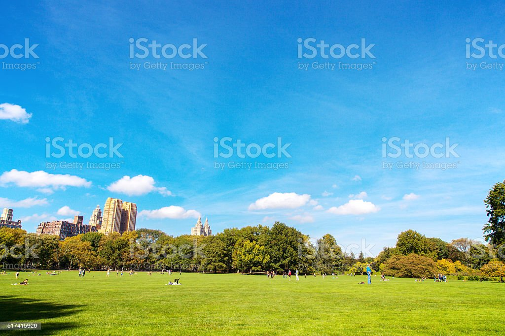 New York central park at sunny day stock photo