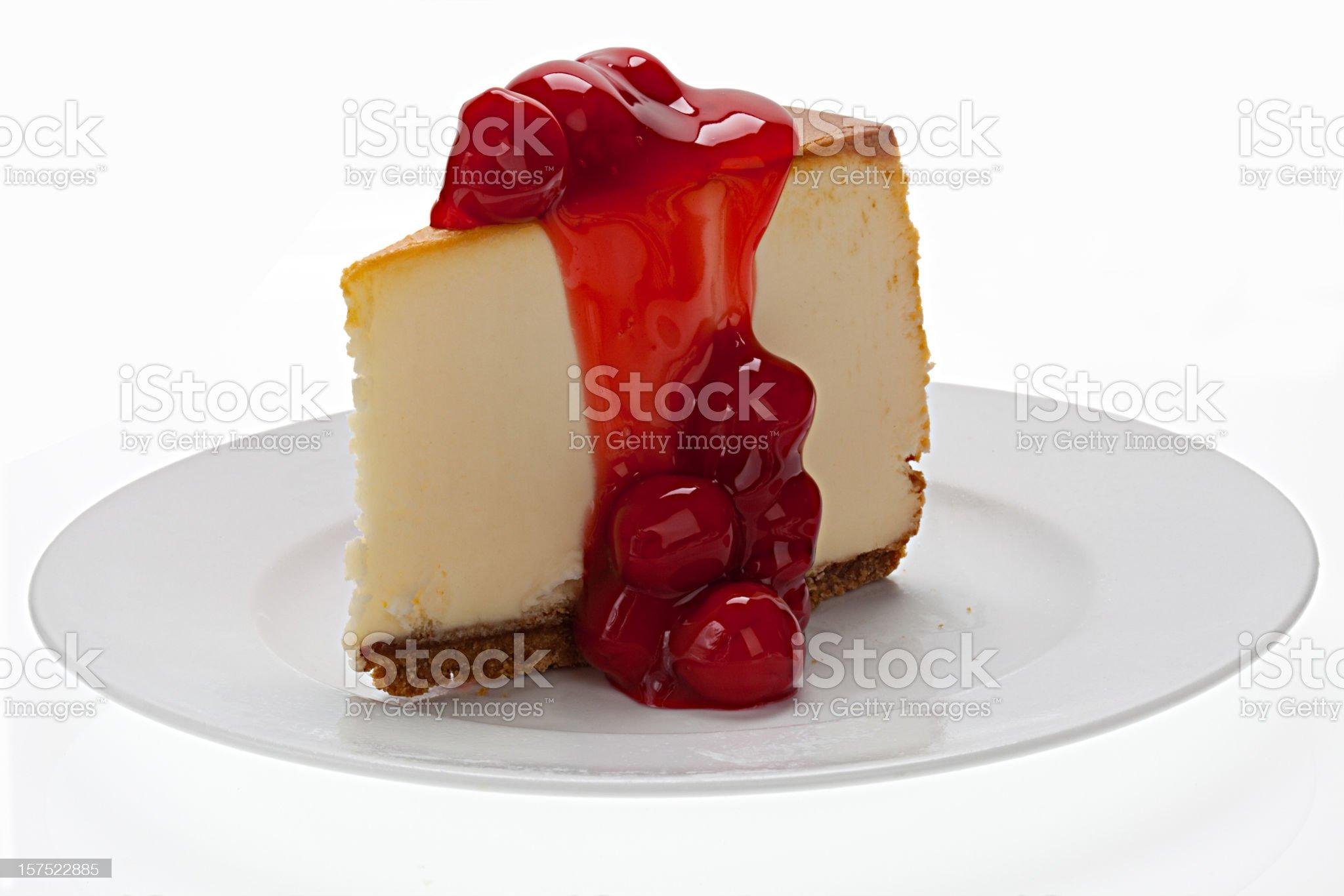 New York Cheesecake With Cherries royalty-free stock photo
