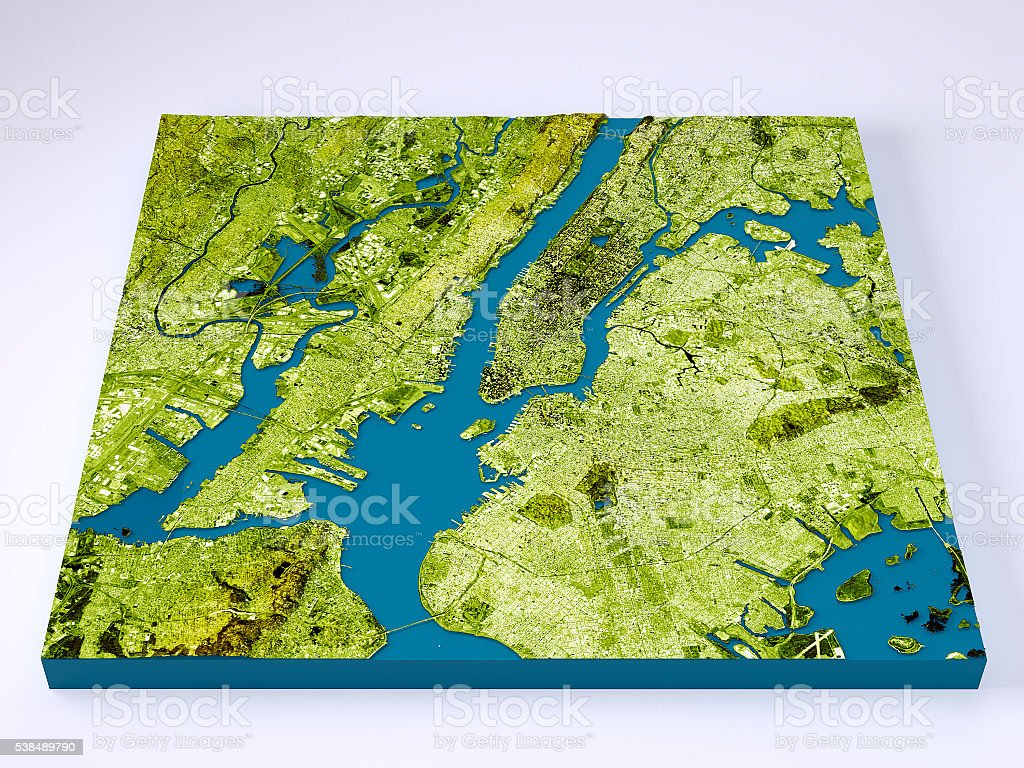 New York City D Model Topographic Map Color Frontal Stock Photo - New york map in 3d