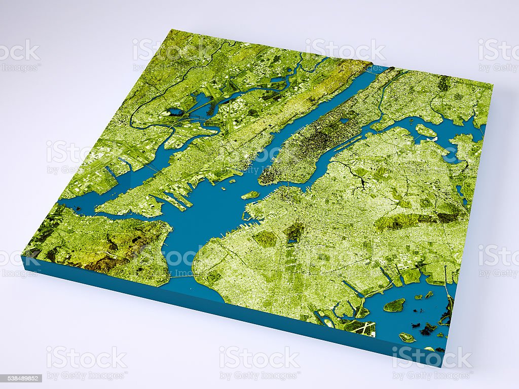 New York City D Model Topographic Map Color Stock Photo - Nyc map topographic