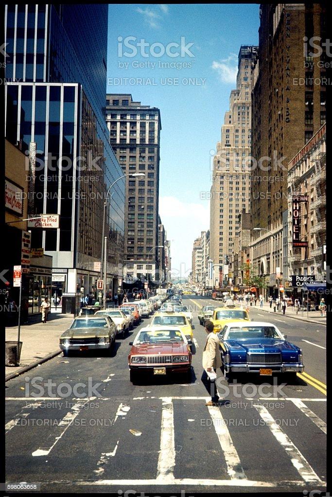 New York City, 5th Ave street scene, 1976 stock photo