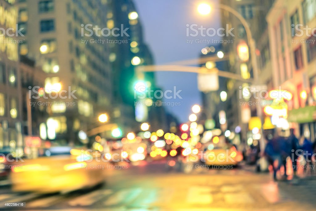 New york City abstract rush hour - Defocused taxi cabs stock photo